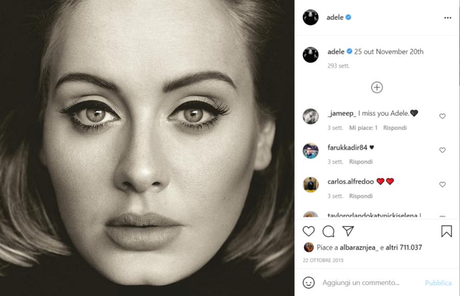 Primo post di Adele su Instagram
