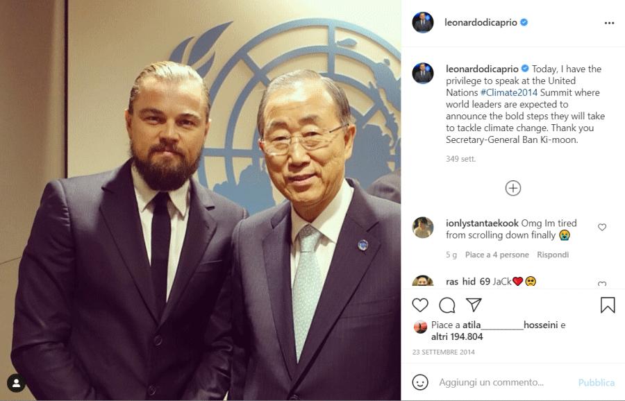 Primo post di Leonardo Di Caprio su Instagram