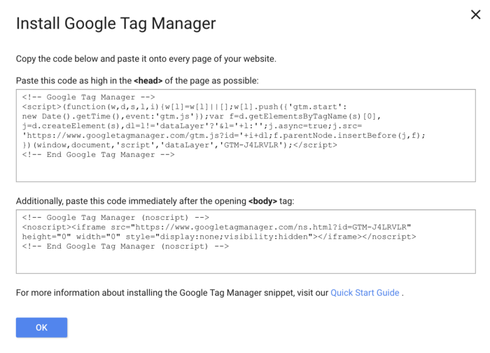 Snippet di Google Tag Manager