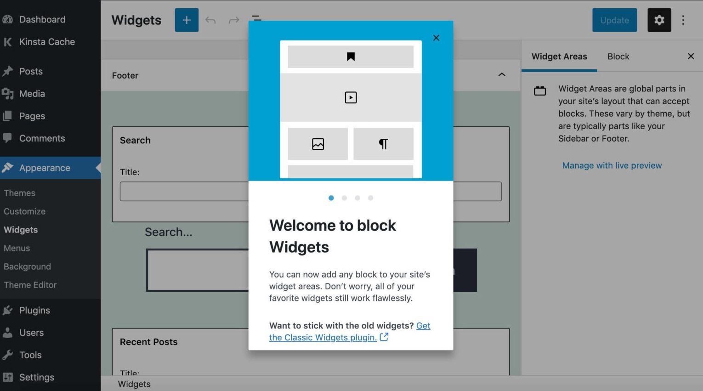 Editor di widget basato sui blocchi