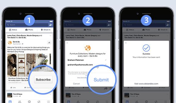 Modulo interattivo Instant Experience di Facebook