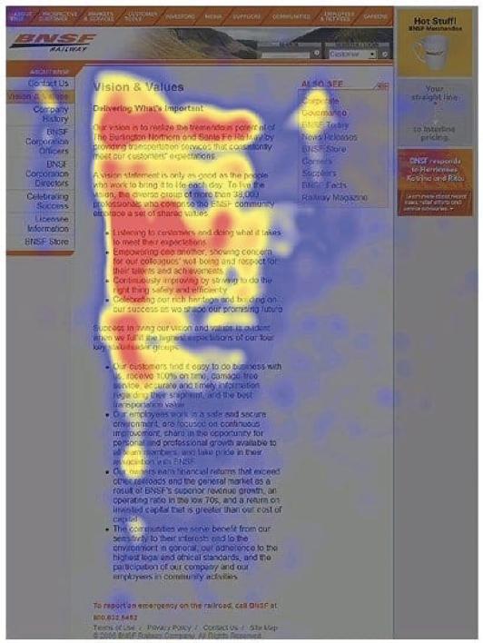 Heatmap F-pattern di lettura