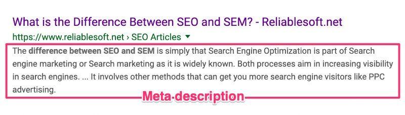 Esempio di Meta description